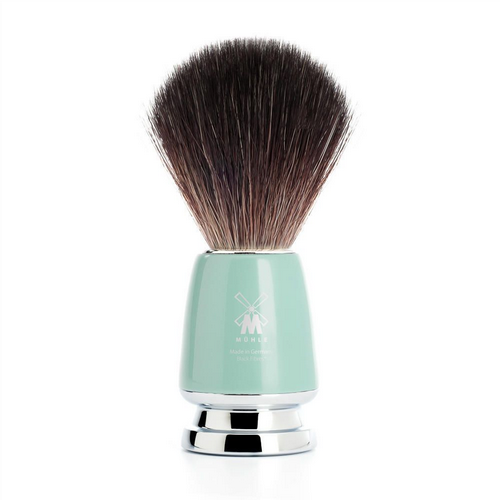 Shaving Brush - Mint & Chrome - Black Fibre